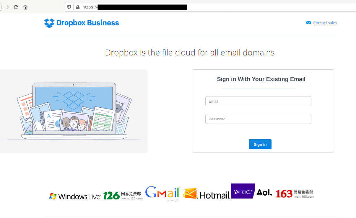Dropbox Business phishing page.